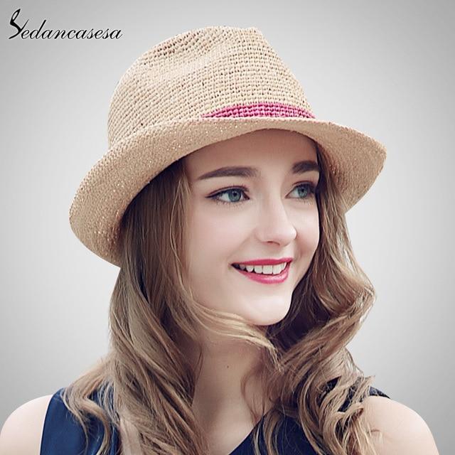 Sedancasesa Лето Шапки рафии соломенная шляпа для Для женщин пляжные Шляпы  фетровые для женщин Повседневное Панама 993ab9eb4a3