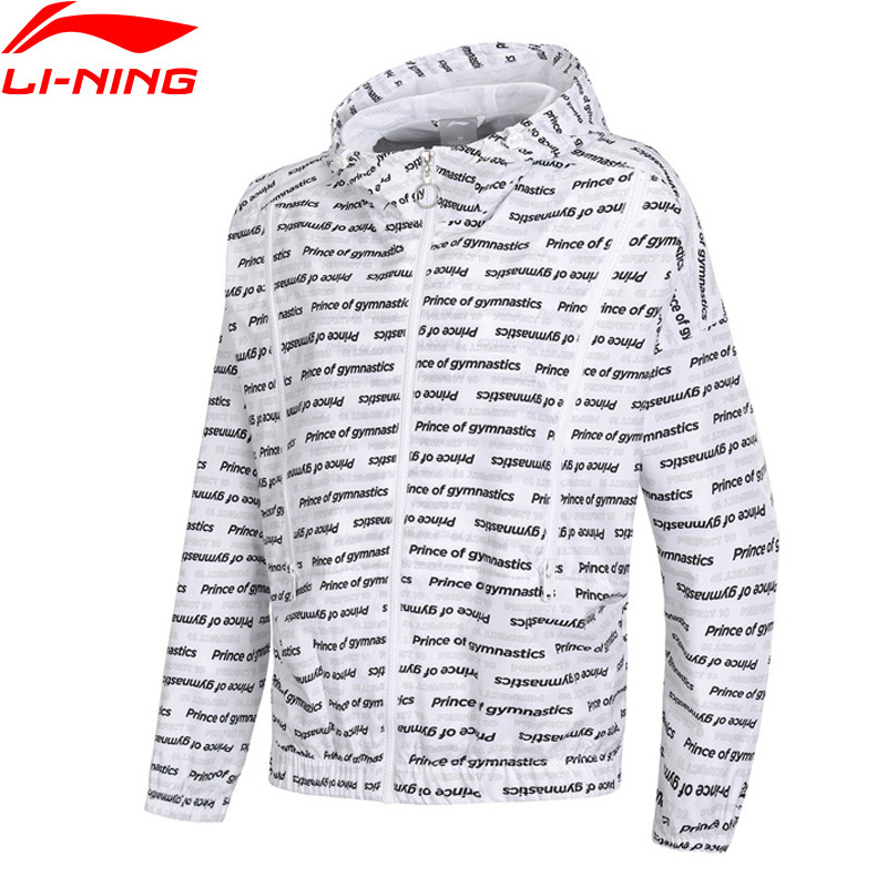 Li Ning Women The Trend Windbreaker 100 Polyester Loose Fit Letters Printing Windproof LiNing Sports Coat