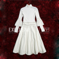 2016 Autumn Winter Graceful OL Wind White Turtleneck Knitted Sweater + Zipper Decorated Woolen Skirt Tow Pieces Sets Suit