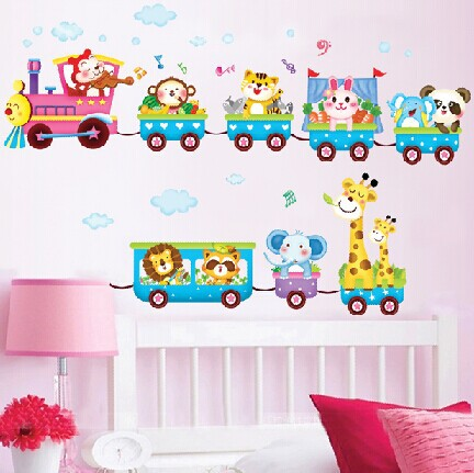 lovely cartoon train animals pattern removable wall sticker for kids