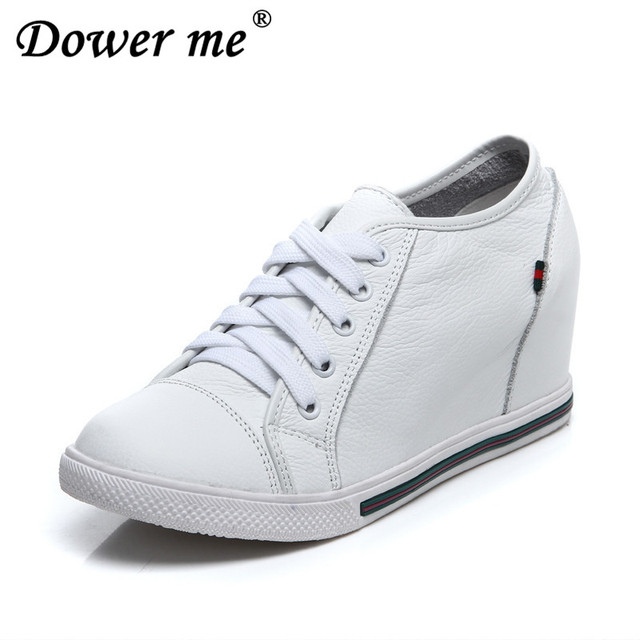 74899394d00c Fashion Hidden Wedge Heels Lace Up Travel Casual Shoes Women Genuine  Leather Wedges Shoes For Women Black White Zapatos Mujer