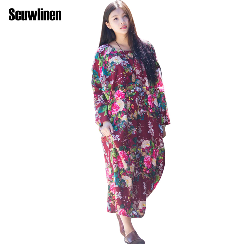 SCUWLINEN 2017 Spring Autumn Dress O neck Flower Print with Butterfly Loose Casual Linen Dresses Vintage