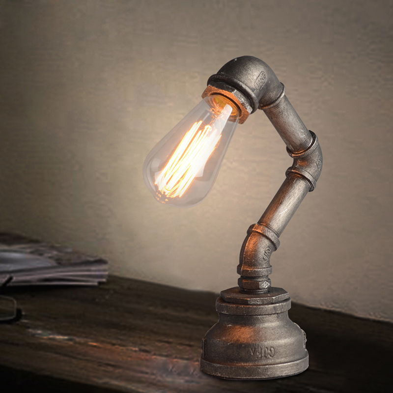 edison bulb desk lamp online shop vintage personality table lamps water pipe light props bedroom bedside robot book lamp country industrial e27 edison bulb aliexpress