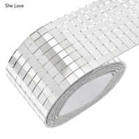 She Love Self-Adhesive Glass Mini Square Mirrors Mosaic Tiles For DIY Handmade Home Decoration