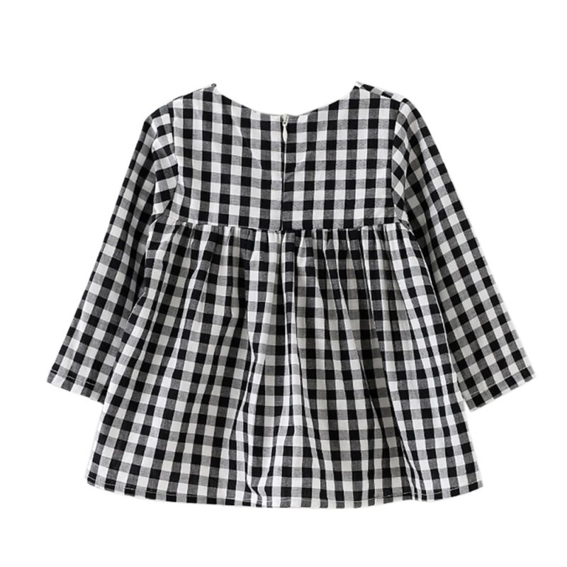 Baby Girls Dress Long Sleeve Casual Plaid Party Princess Dresses Children's Clothing