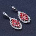 Trendy Plant High Quality Handmade Red Garnet Sliver Drop Earrings For Women  Free Shipping&Free Gift Jewelry Box