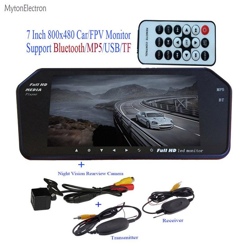 Bluetooth MP5 TF USB 800*480 LCD FPV  Car Mirror Monitor 7 inch screen + Wireless Backup Night vision Rear Waterproof HD Camera