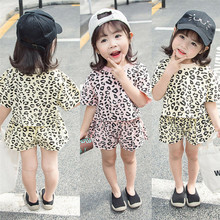 PUDCOCO Newest 2pcs Baby Girls Cotton Clothes Summer Leopard Print T-shirt +Shorts Pants Kids Children Casual Outfits Set 0-4T
