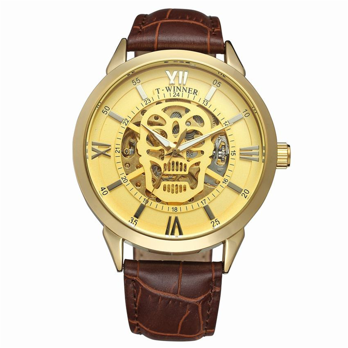 WINNER Automatic Mechanical Watches 3D Logo Mens Gold Luxury Wrist Watch Men Military Sport Skeleton Clock Business Clocks t winner automatic mechanical watches fashion luxury gear shape silver skeleton dial wrist watch men noble casual clock leather