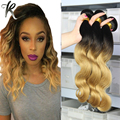 Honey Blonde Ombre Hair Weave 3PCS Indian Body Wave Virgin Hair Two Toned Wavy Hair Extension Strawberry Blonde Remy Hair 03B341