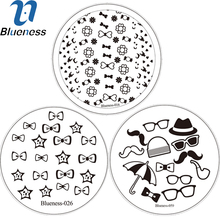 Blueness 3 Designs Charms Bow Patterns Water Decals Stencils Stemping Plates For Stamping Set Nail Art Decoration Tips Tools