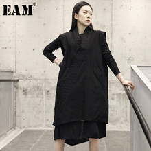 [EAM] 2019 New Spring Summer V-collar Sleeveless Black Hem Irregular Stitch Drawstring Big Size Vest Women Fashion Tide JO463(China)