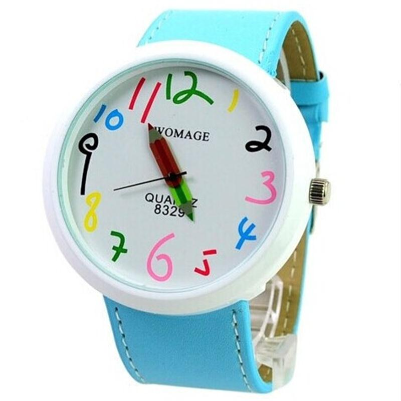 Watches Casual Big Dial Watch Boy Girl Leather Colorful Children Kids watches Clock relogio feminino saat Children Watch montr