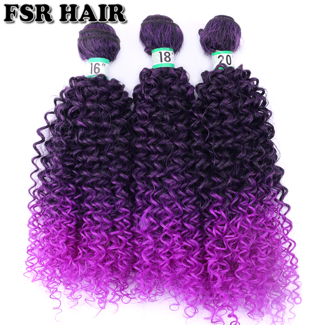 Black to Purple afro Kinky Curly hair weave synthetic hair extensions Ombre hair bundle