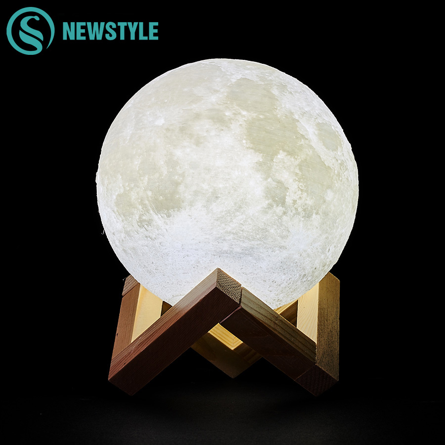 Creative 3D Print Moon Lamp Rechargeable Night Light LED 2 Colors Change Touch Switch For Christmas Decoration Children Gift