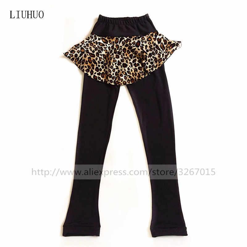 Высококачественные штаны для фигурного катания на заказ, Женская юбка-брюки для катания на коньках, эластичная ткань, сексуальная леопардовая юбка