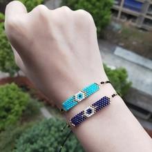 FAIRYWOO Ins Hot Vintage Evil Eye Charm Bracelets Miyuki Jewelry Handmade Rope Adjustable Bracelet Woman Kid Friendship Gifts
