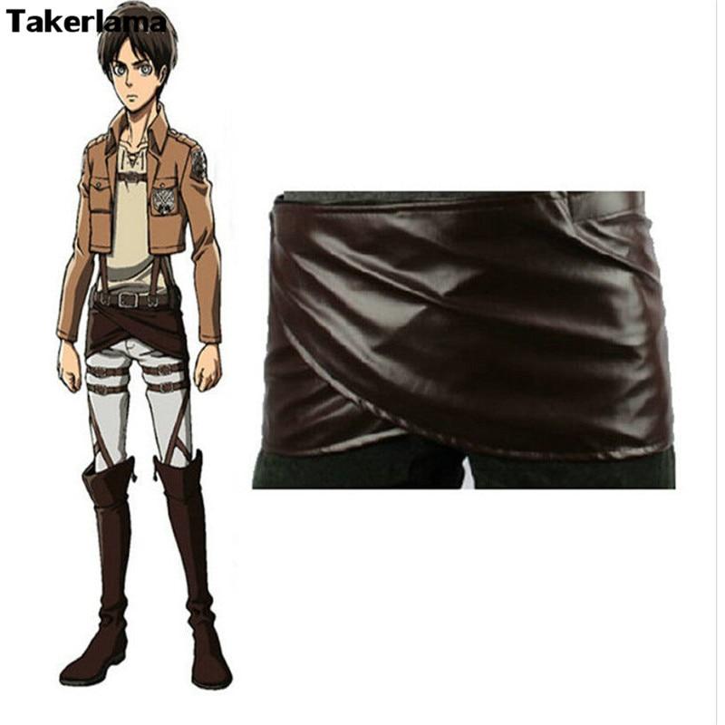 Takerlama Cosplay Attack on Titan Shingeki no Kyojin Leather Skirt Hookshot Belt Costume Chocolate Leather Apron Belt Skirt