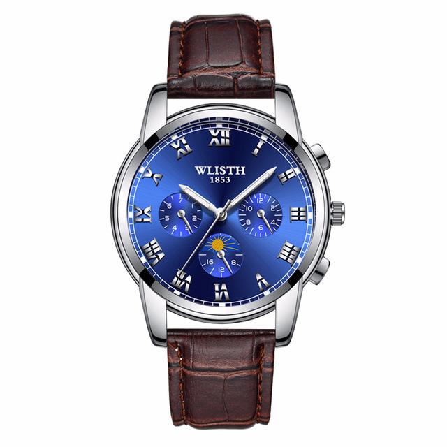 Reloj con correa en acero inoxidable impermeable luminoso para hombre de cuarzo