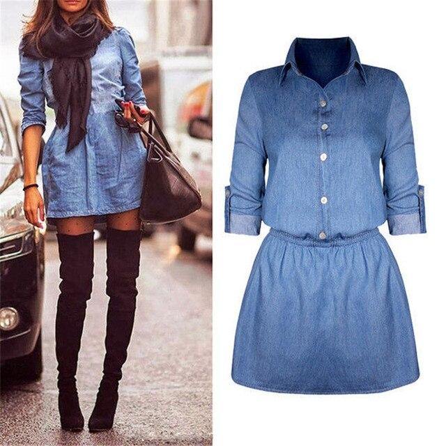 079cb5dad6 NEW Womens Longline Denim Shirt Dress Ladies Button Casual Jean Mini Dresses  Size 6-14 HOT