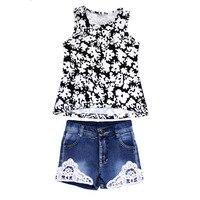 ฤดูร้อนเด็กเด็กสาวชุดเสื้อผ้าแฟชั่นสีดำลายดอกไม้
