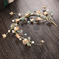 bride tiara gold leaf pearl hoop hairband wedding hair accessories bridal tiara wholesale