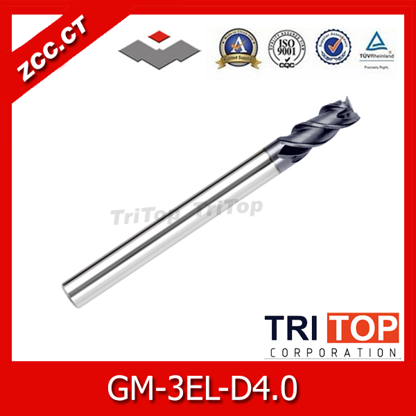 ZCC.CT  GM series GM-3EL-D4.0 Cemented Carbide 3-flute flattened Long cutting edge end mills with straight shank zcc cthm hmx 4efp d8 0 solid carbide 4 flute flattened end mills with straight shank long neck and short cutting edge