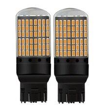 2 adet 2018 yeni T20 7443 W21/5W CANBUS süper parlak 2000Lm 144 LED araba kuyruk ampul fren lambası otomatik gündüz koşu işık dönüş sinyali