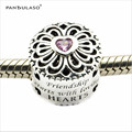 2016 Autumn New Original Love & Friendship Pink CZ Charm Fits Pandora DIY Bracelet 100% 925 Sterling Silver Round Beads Making.