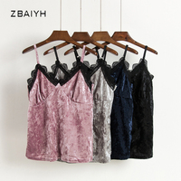 ZBAIYH 2017 Spring Fashion Sleeveless Slim Velour Short Camisoles Sexy Lace V Neck Velvet Tops Women