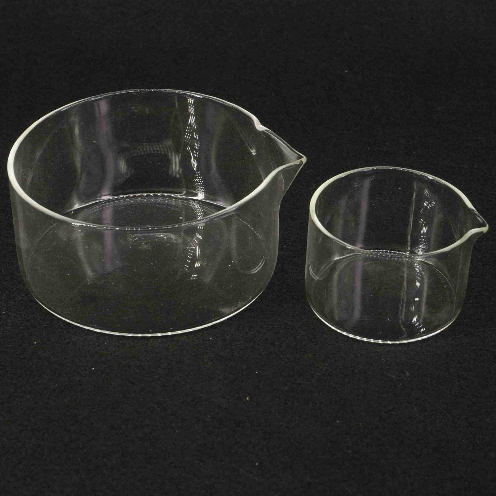 Lab Glass Crystallizing Dishes 60/90/100/125mm O.D With Spout Crystallization Experiment