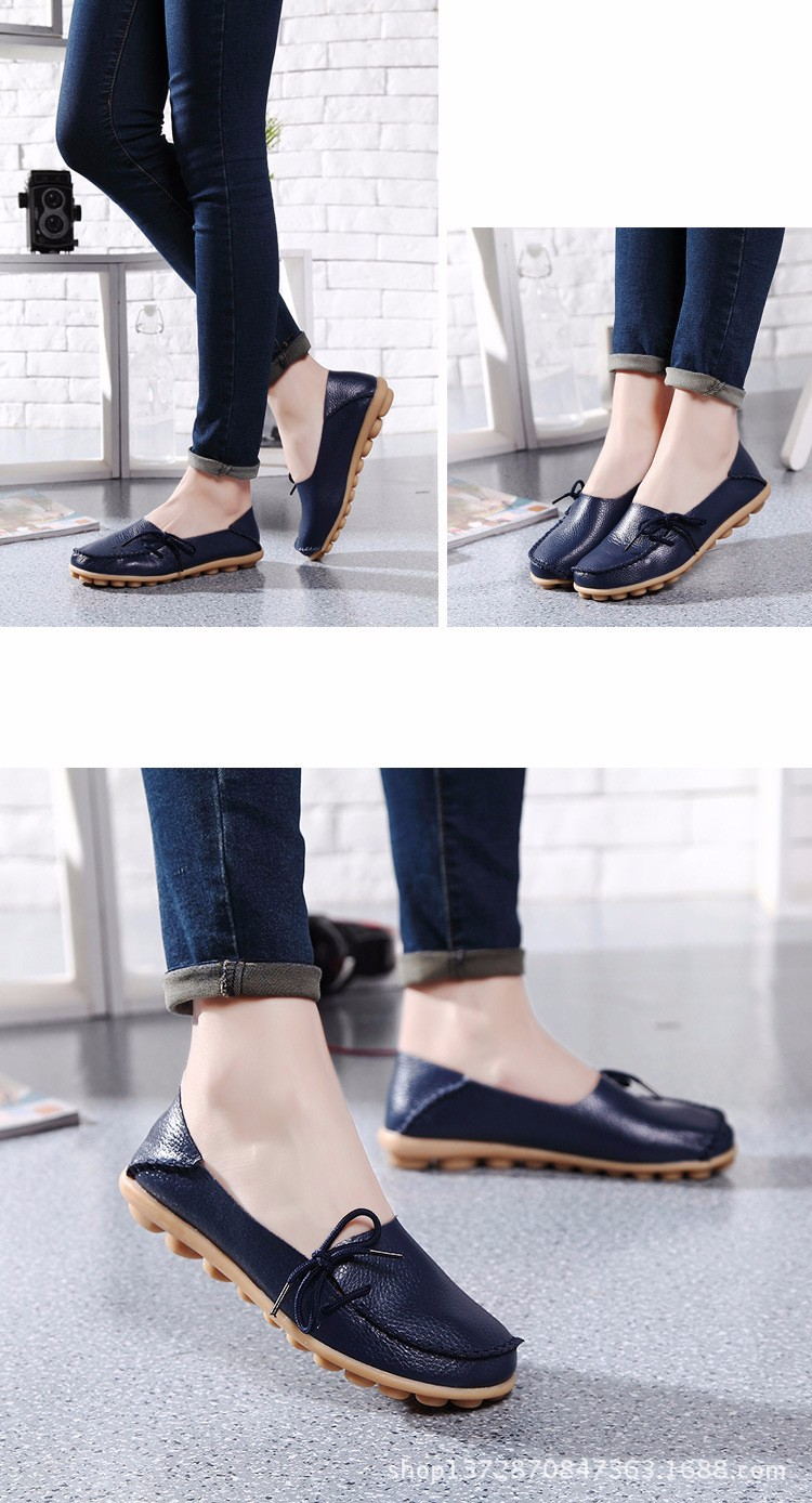 2016 New Real Leather Woman Flats Moccasins Mother Loafers Lacing Female Driving Casual Shoes In 16 Colors Size 34-44 ST179 (28)