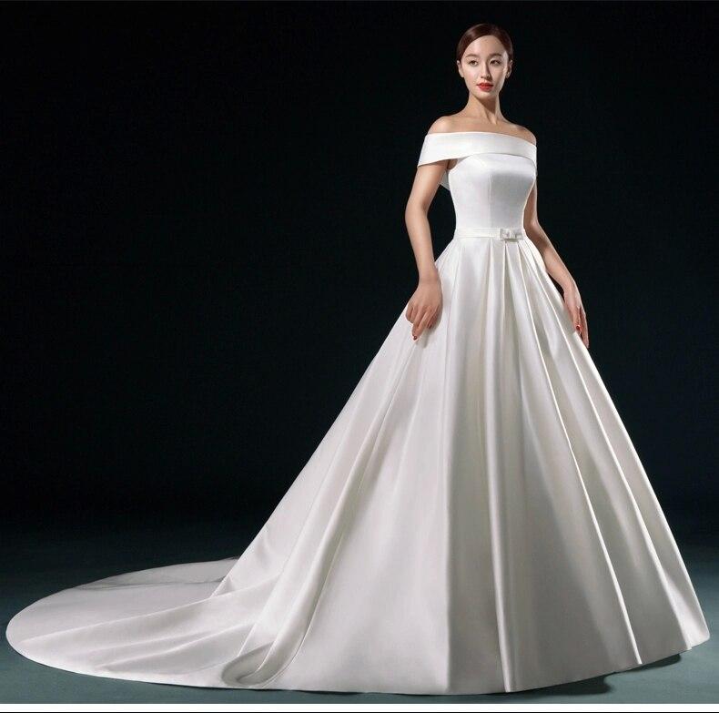 Women off shoulder satin wedding dress chapel train lace for Off the shoulder satin wedding dress