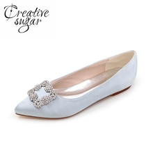 Creativesugar Pointed toe square crystal brooch woman flats slip on satin dress shoes mother of bridal Silver purple blue red