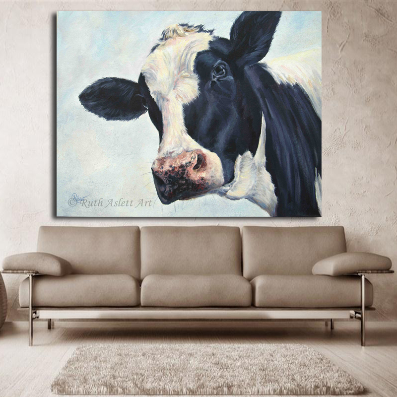 Home Decor Wall Art Cow Painting Cow Molly Moo Low Oil Painting For Living  Room Modern Animal Pictures Canvas Wall Art Unframed In Painting U0026  Calligraphy ...