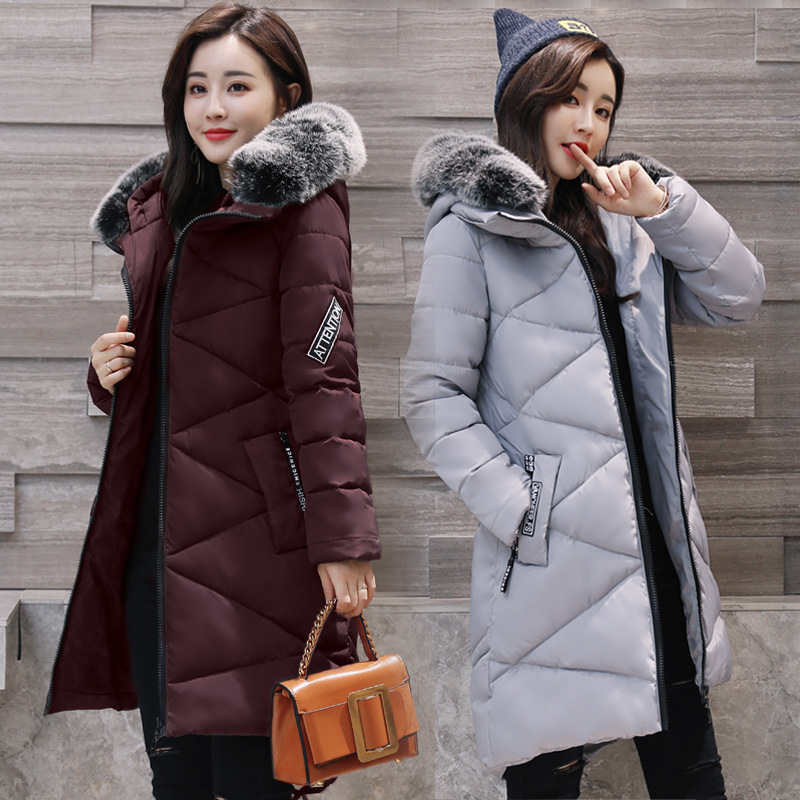 2017 Winter Fashion Women Thick Warm Long Sleeve Feathers Collar Coats Female Zipper Hooded Long Cotton-padded Jackets Parkas 2017 winter women parkas slim feathers collar female cotton padded coats jackets long thick warm hooded new hot la1013b 16608