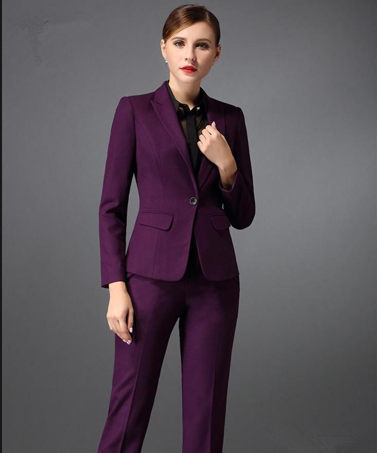 3e9ccc2c3 Custom Made Autumn Bussiness Formal Elegant Women Suit Set Blazers Pants  Office Suits Ladies Pants Suits Trouser Suits