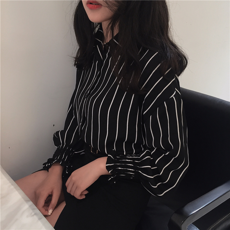 17 Autumn Spring Vintage Shirts Women Striped Slim Stand collar Women Casual Shirts Ladies Classic Style Shirts Female Loose 15