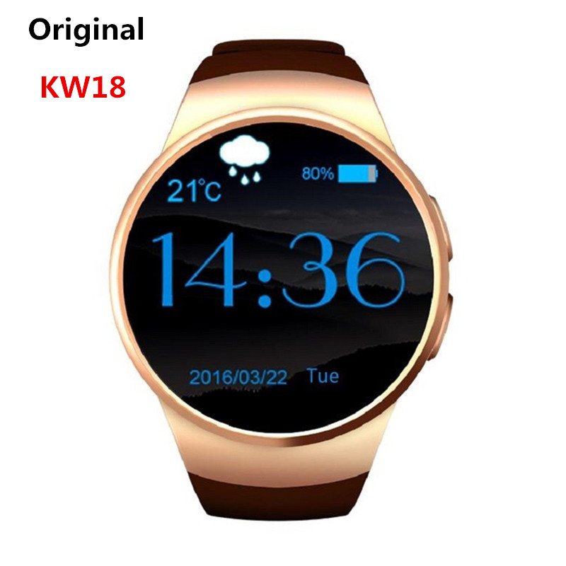 ФОТО KW18 Bluetooth Smartwatch Support SIM TF Card Smart Watch Android/IOS Heart Rate Monitor Watch for Apple Gear S2 for Huawei SB02