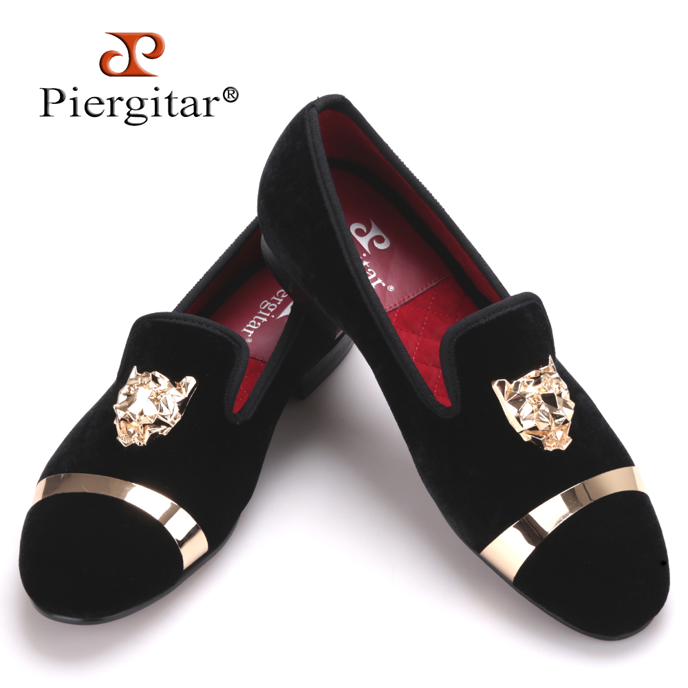 New fashion men party and wedding handmade loafers men velvet shoes with tiger and gold buckle men dress shoe men's flats men loafers paint and rivet design simple eye catching is your good choice in party time wedding and party shoes men flats