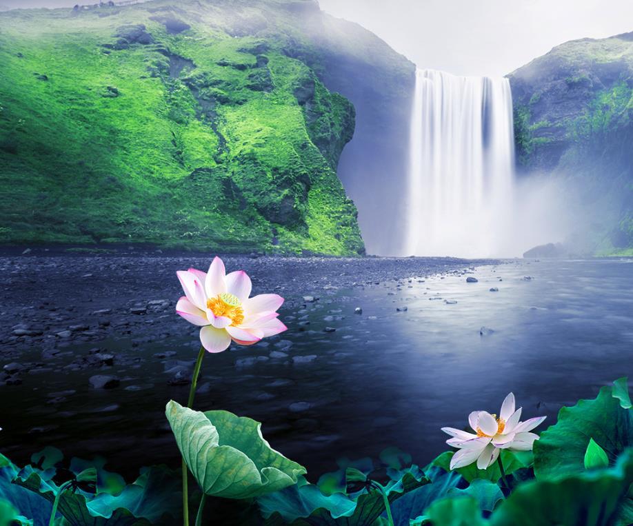 картинка с водопадами и лотосом протяжении