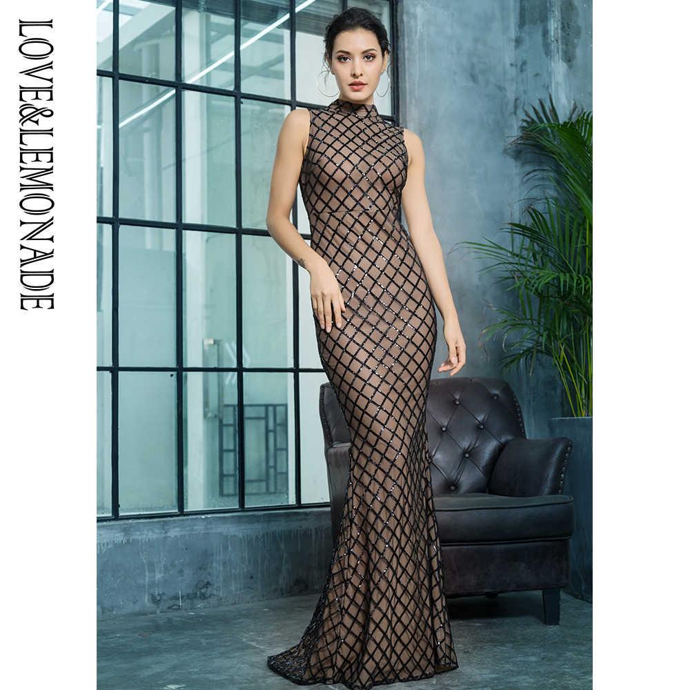 Love & Lemonade/облегающее платье без рукавов с блестками LM812981BLACK