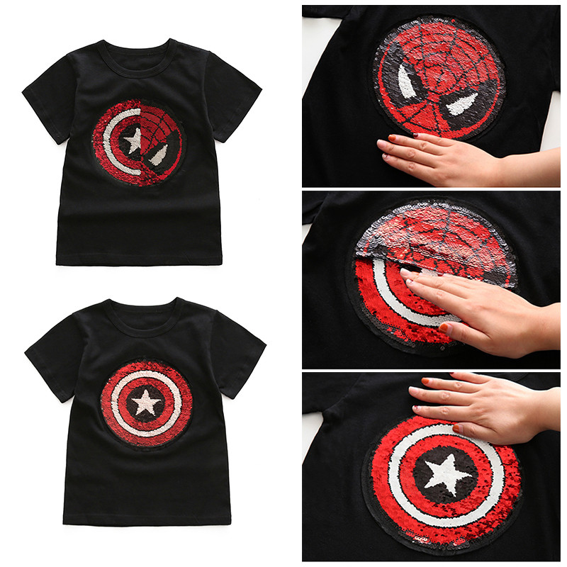 sequins cartoon girls T boys T shirt baby glitter tee kids tops magic discoloration spiderman captain heart reversible sequins in T Shirts from Mother Kids