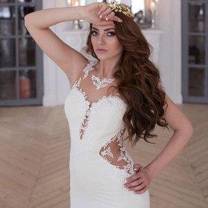Image 4 - LORIE vestidos de novia de sirena, vestido de novia blanco y marfil transparente con apliques de encaje, sexi, para la playa, a medida, con espalda descubierta