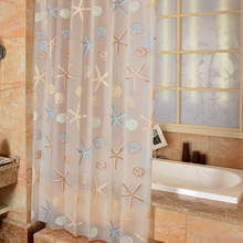 EHOMEBUY Moderne Shower Curtain Starfish Partition Frisk Seaside Style Vandtæt Mild PEVA Gardin Til Badeværelse Brusebad