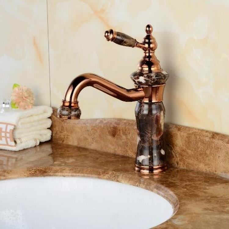 Free Shipping New Deck mount brass and Jade faucet Bathroom Basin faucet Mixer Tap Rose Gold Sink Faucet Bath Basin Sink Faucet free shipping dual handle brass faucet bathroom basin mixer rose gold wash basin tap torneira