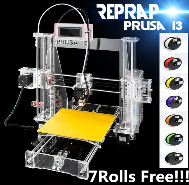 2016 Discount!! 7rolls filament +SD card as gift  Prusa i3 3d printer +optional language software English teaching Video