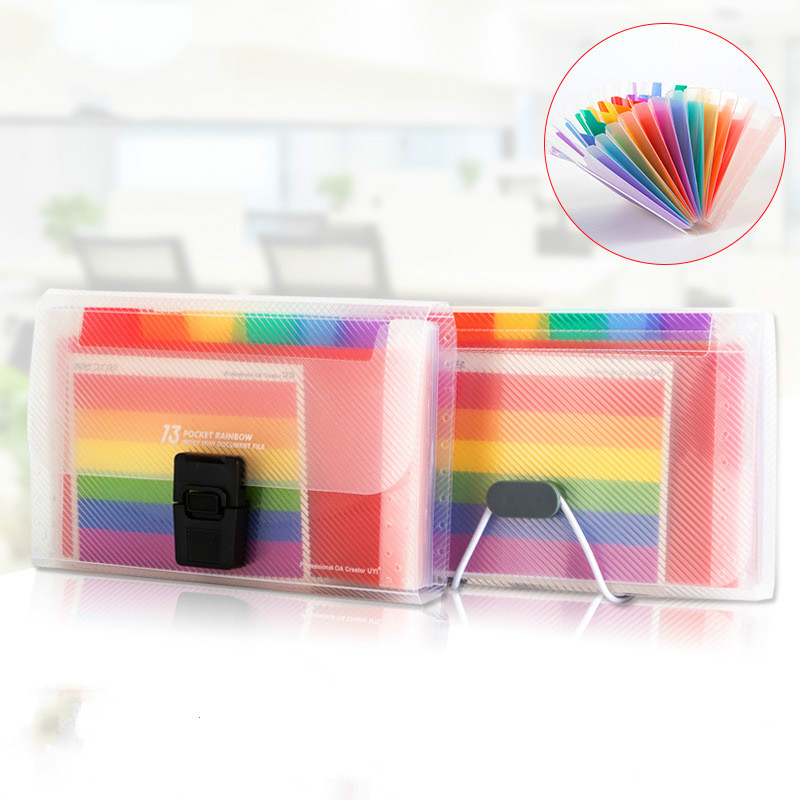 13 Grids A6 Document Bag Cute Rainbow Color Mini Bill Receipt File Bag Pouch Folder Organizer File Holder Office Supply