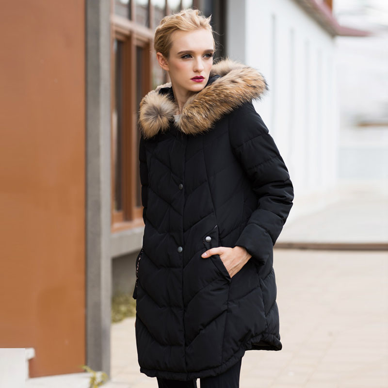 2016 winter woman coat warm down Cotton jackets Women Faux fur collar Thick Slim hooded plus size Long down jacket Coat Black x long woman warm winter down coat camouflage brand really fur collar hood print down jackets with pockets size m 3xl