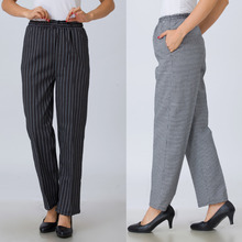hot deal buy 2016 women models restaurant uniforms pants kitchen trouser chef pants elastic food service pants stripe chef working pants